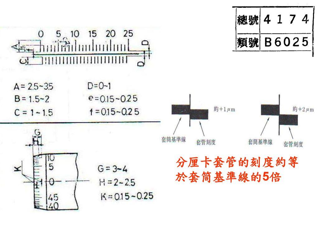 分厘卡套管的刻度約等於套筒基準線的5倍