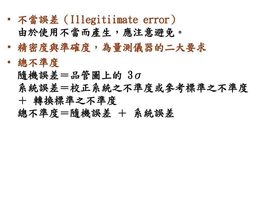 不當誤差(Illegitiimate error) 由於使用不當而產生,應注意避免。