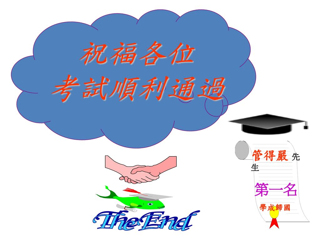 祝福各位 考試順利通過 管得嚴 先生 第一名 學成歸國 The End