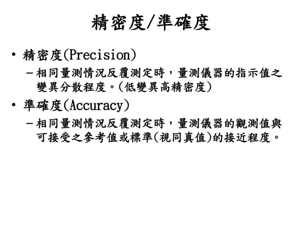精密度/準確度 精密度(Precision) 準確度(Accuracy)
