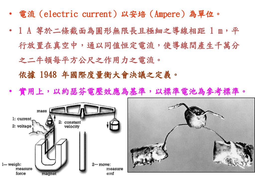 電流(electric current)以安培(Ampere)為單位。