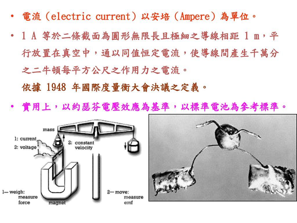電流(electric current)以安培(Ampere)為單位。