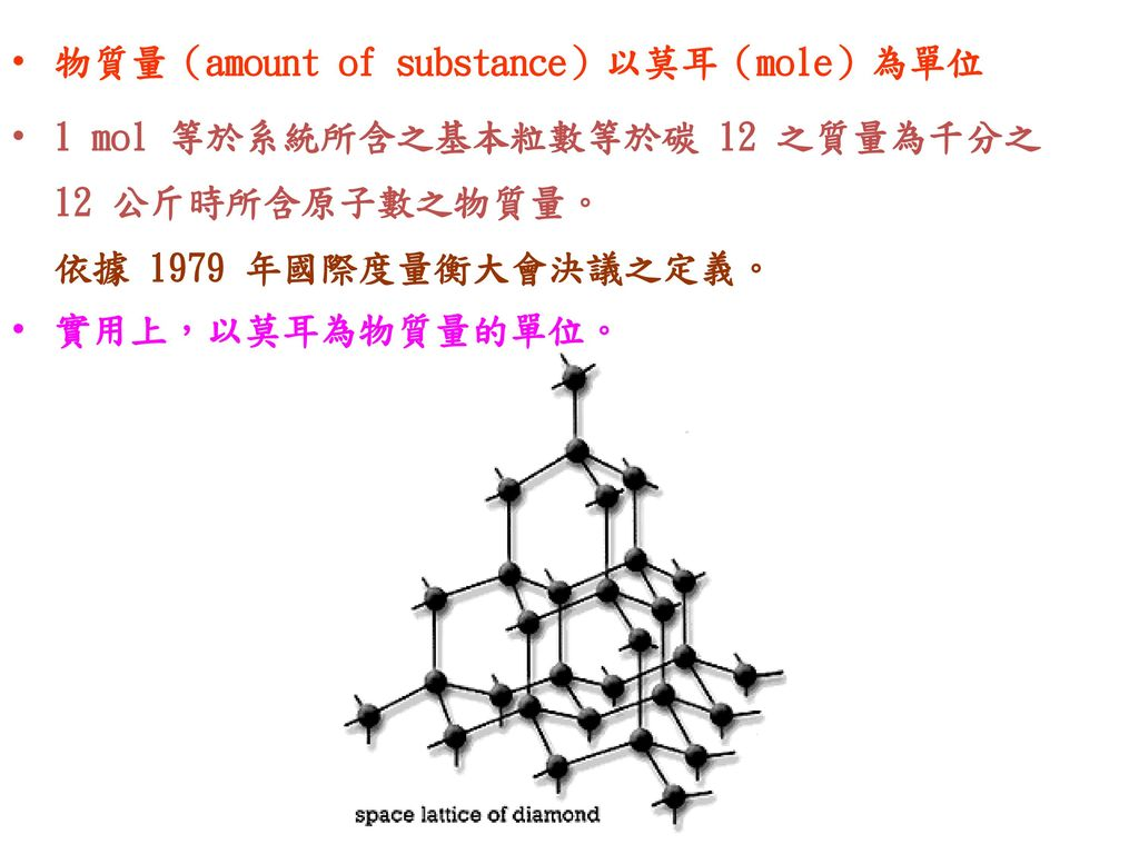 物質量(amount of substance)以莫耳(mole)為單位
