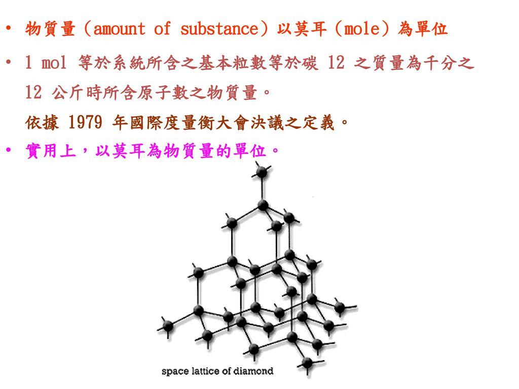 物質量(amount of substance)以莫耳(mole)為單位