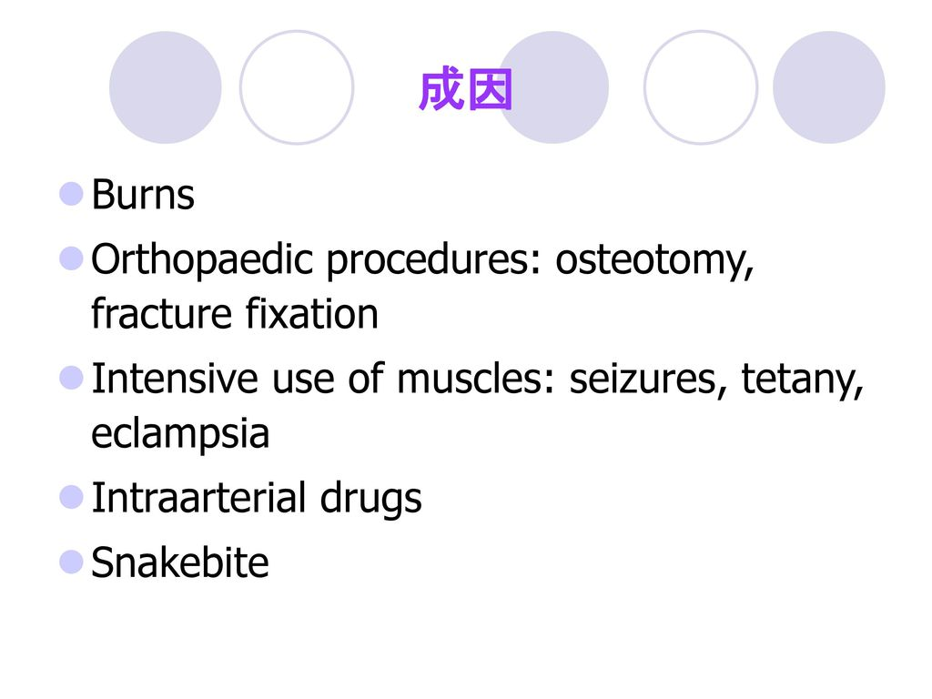成因 Burns Orthopaedic procedures: osteotomy, fracture fixation