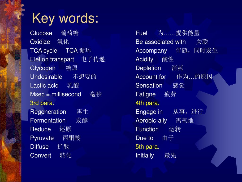 Key words: Glucose 葡萄糖 Oxidize 氧化 TCA cycle TCA 循环