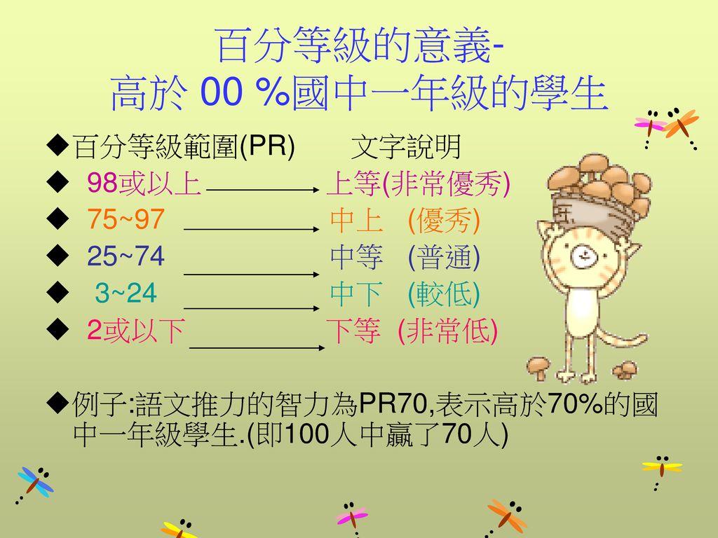 百分等級的意義- 高於 00 %國中一年級的學生 百分等級範圍(PR) 文字說明 98或以上 上等(非常優秀) 75~97 中上 (優秀)