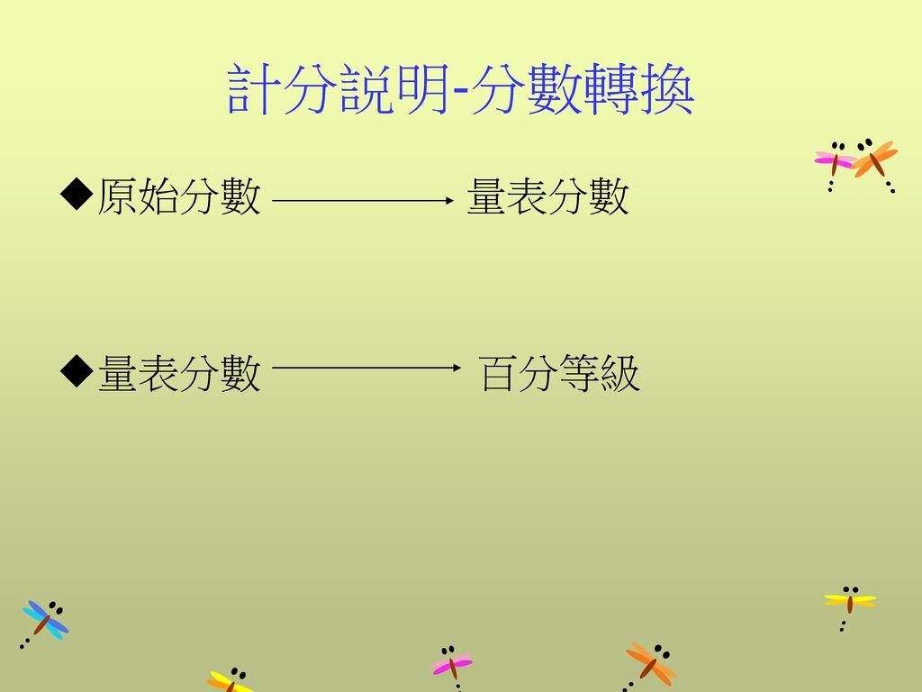 計分説明-分數轉換 原始分數 量表分數 量表分數 百分等級