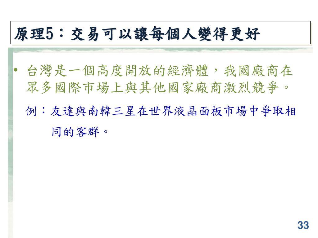 原理5:交易可以讓每個人變得更好 台灣是一個高度開放的經濟體,我國廠商在 眾多國際市場上與其他國家廠商激烈競爭。