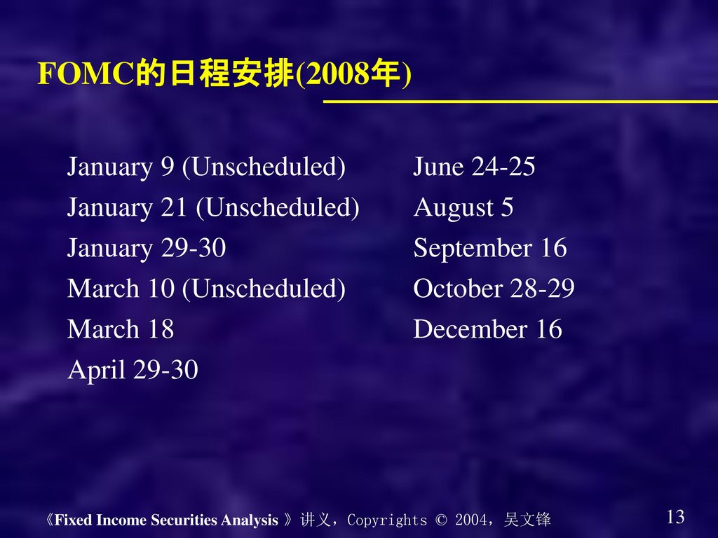 FOMC的日程安排(2008年) January 9 (Unscheduled) June 24-25