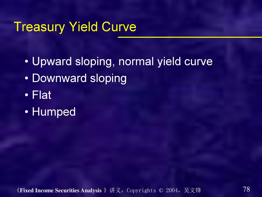 Treasury Yield Curve • Upward sloping, normal yield curve
