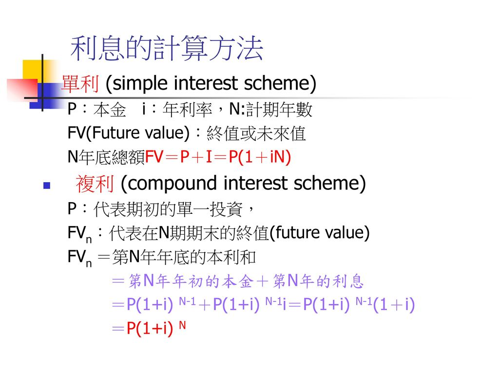 利息的計算方法 單利 (simple interest scheme) 複利 (compound interest scheme)