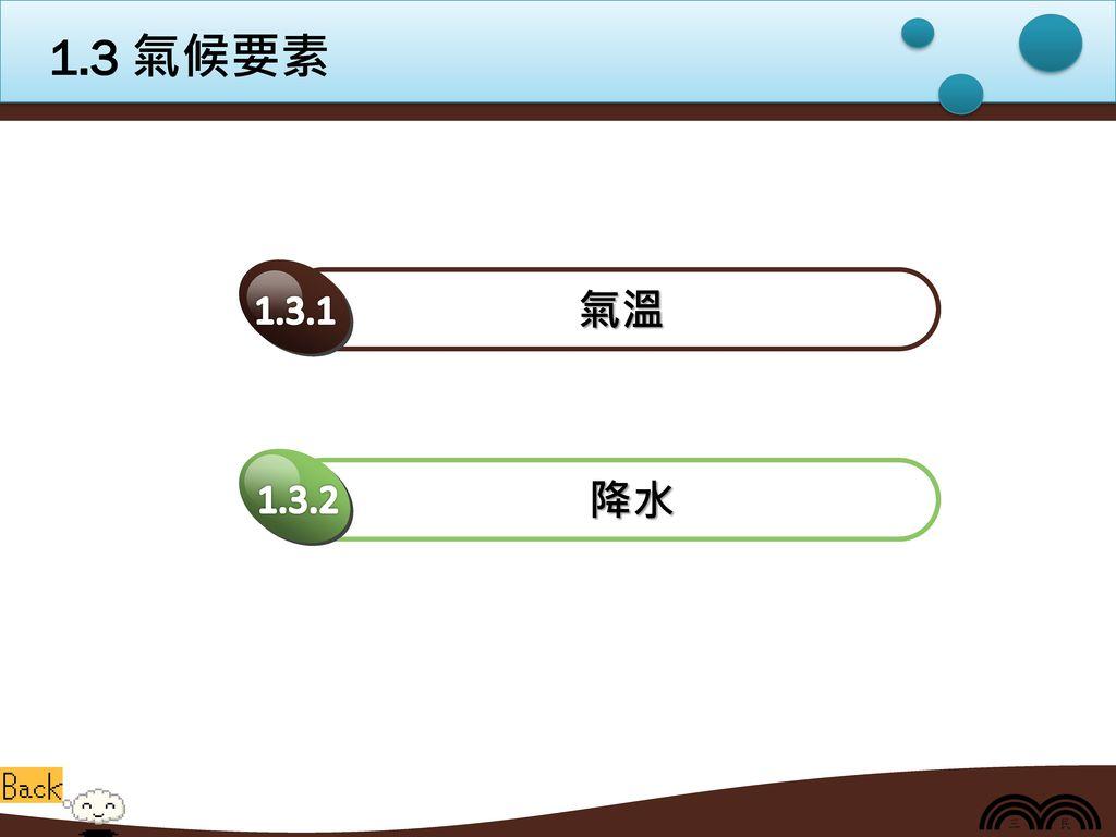 1.3 氣候要素 氣溫 1.3.1 降水 1.3.2
