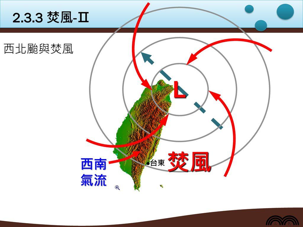 2.3.3 焚風-Ⅱ L 西北颱與焚風 焚風 西南氣流 台東