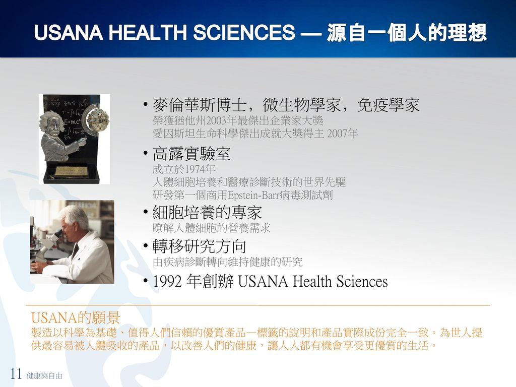 USANA HEALTH SCIENCES — 源自一個人的理想