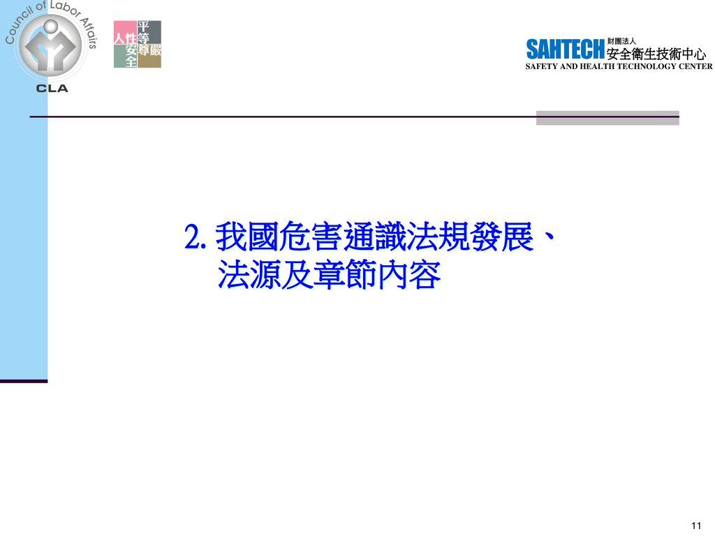 2. 我國危害通識法規發展、 法源及章節內容