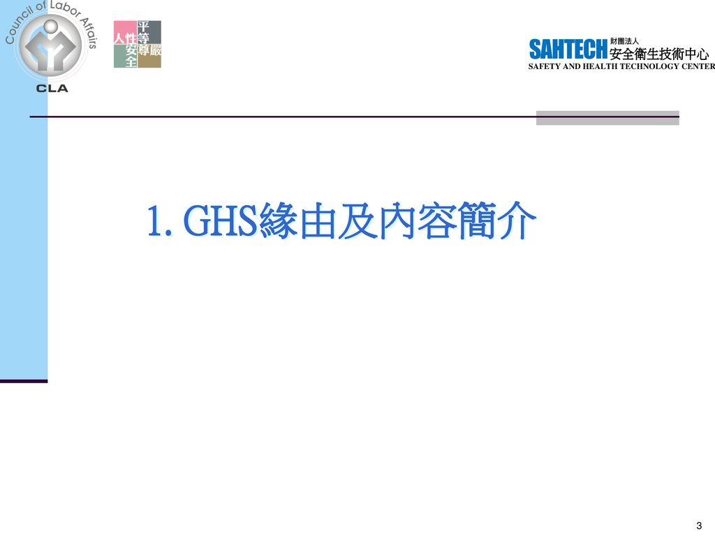 1. GHS緣由及內容簡介