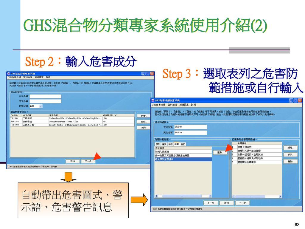 GHS混合物分類專家系統使用介紹(2) Step 2:輸入危害成分 Step 3:選取表列之危害防 範措施或自行輸入