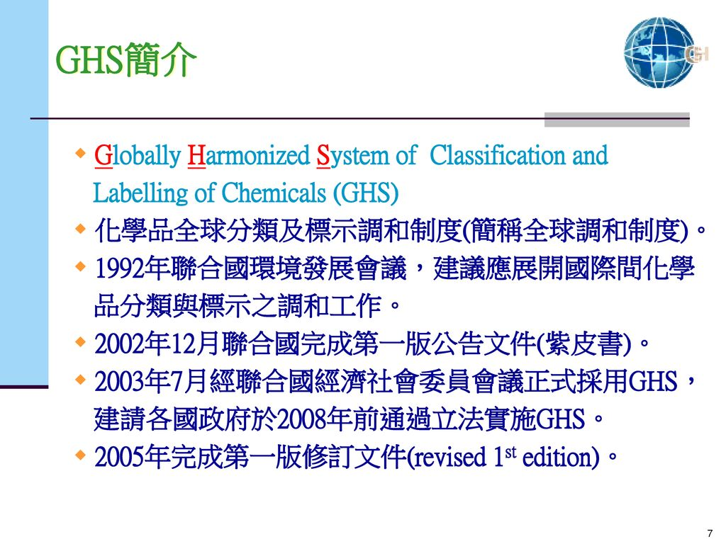 GHS簡介 Globally Harmonized System of Classification and
