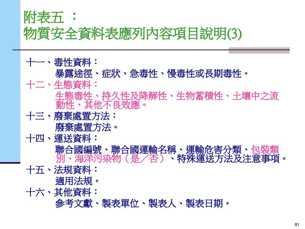 附表五 : 物質安全資料表應列內容項目說明(3)