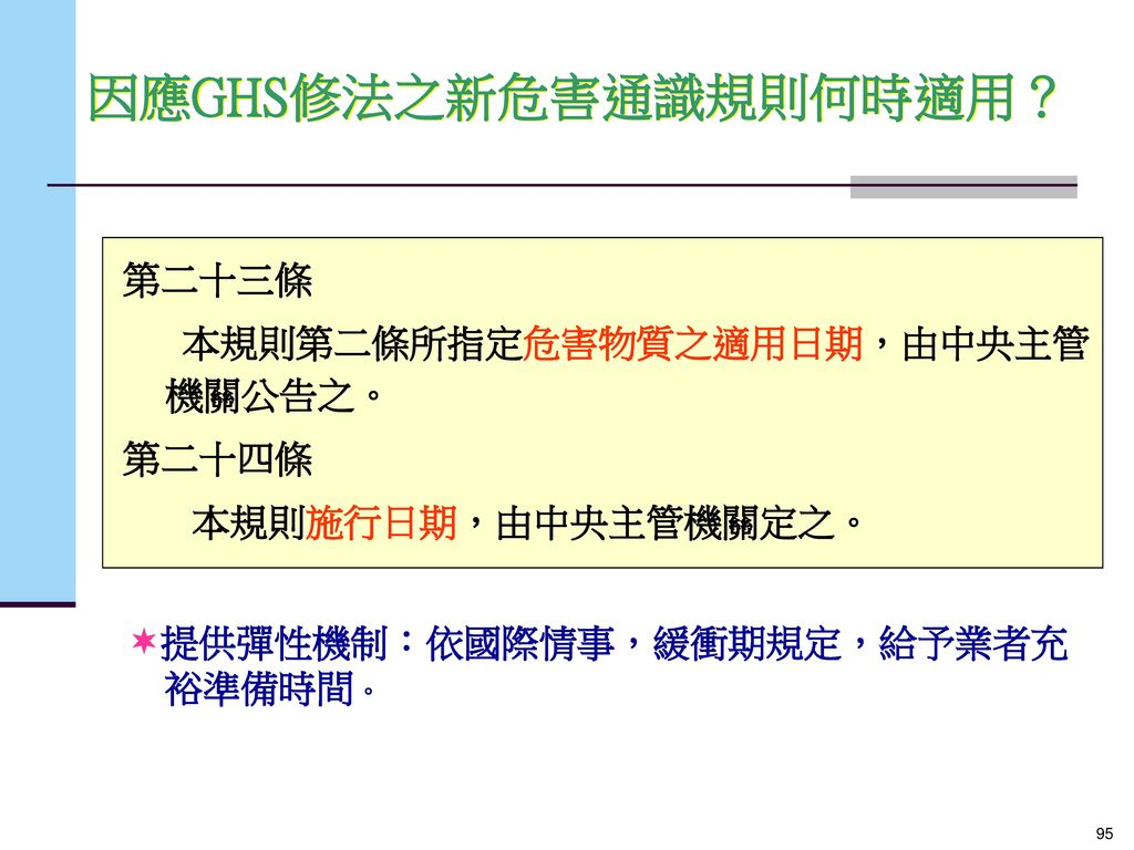 因應GHS修法之新危害通識規則何時適用?