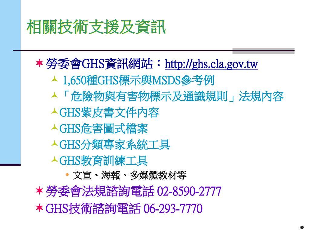 相關技術支援及資訊 勞委會GHS資訊網站:http://ghs.cla.gov.tw 勞委會法規諮詢電話 02-8590-2777
