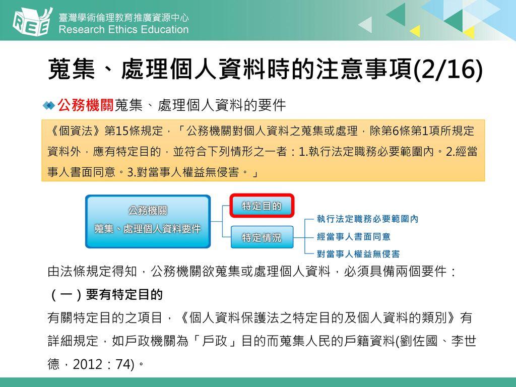 蒐集、處理個人資料時的注意事項(2/16) 公務機關蒐集、處理個人資料的要件