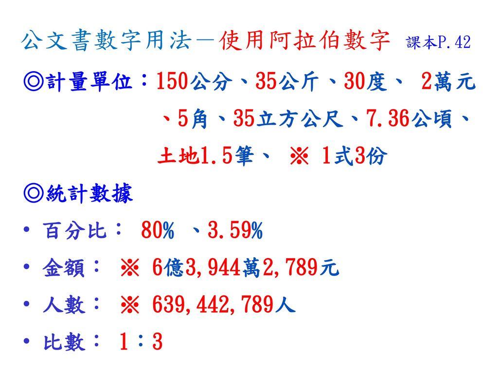 公文書數字用法-使用阿拉伯數字 課本P.42 ◎計量單位:150公分、35公斤、30度、 2萬元 、5角、35立方公尺、7.36公頃、