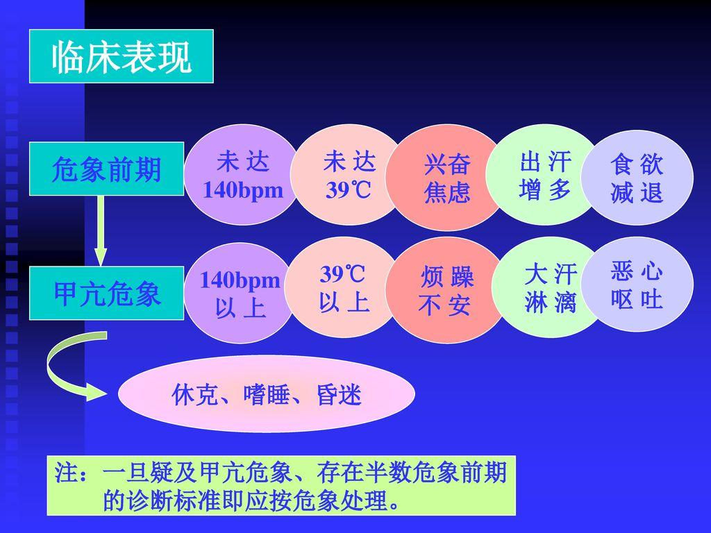 临床表现 危象前期 甲亢危象 未 达 140bpm 未 达 39℃ 兴奋 焦虑 出 汗 增 多 食 欲 减 退 39℃ 以 上 烦 躁