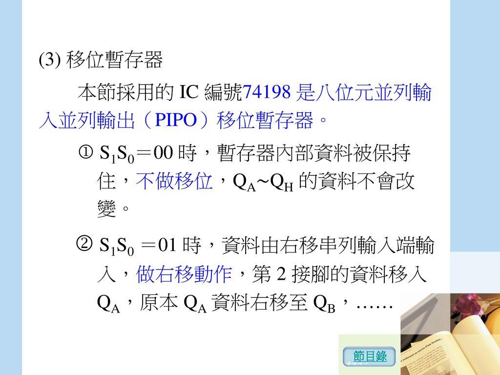 本節採用的 IC 編號74198 是八位元並列輸入並列輸出(PIPO)移位暫存器。