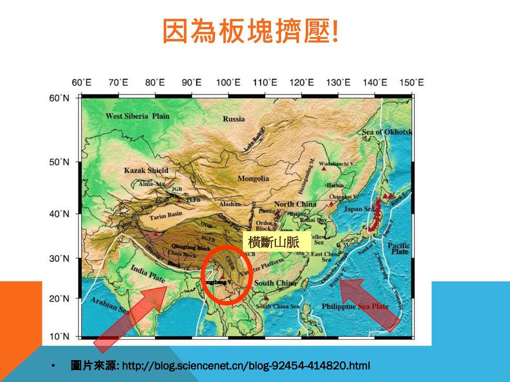 因為板塊擠壓! 橫斷山脈 圖片來源: http://blog.sciencenet.cn/blog-92454-414820.html