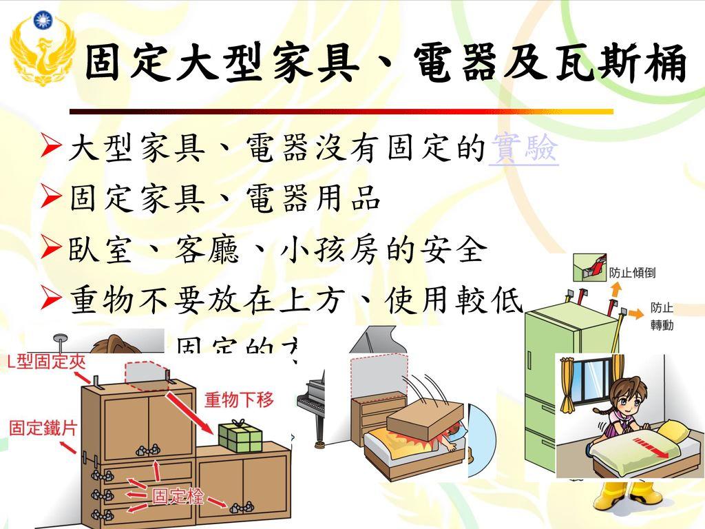 固定大型家具、電器及瓦斯桶 大型家具、電器沒有固定的實驗 固定家具、電器用品 臥室、客廳、小孩房的安全 重物不要放在上方、使用較低矮的家