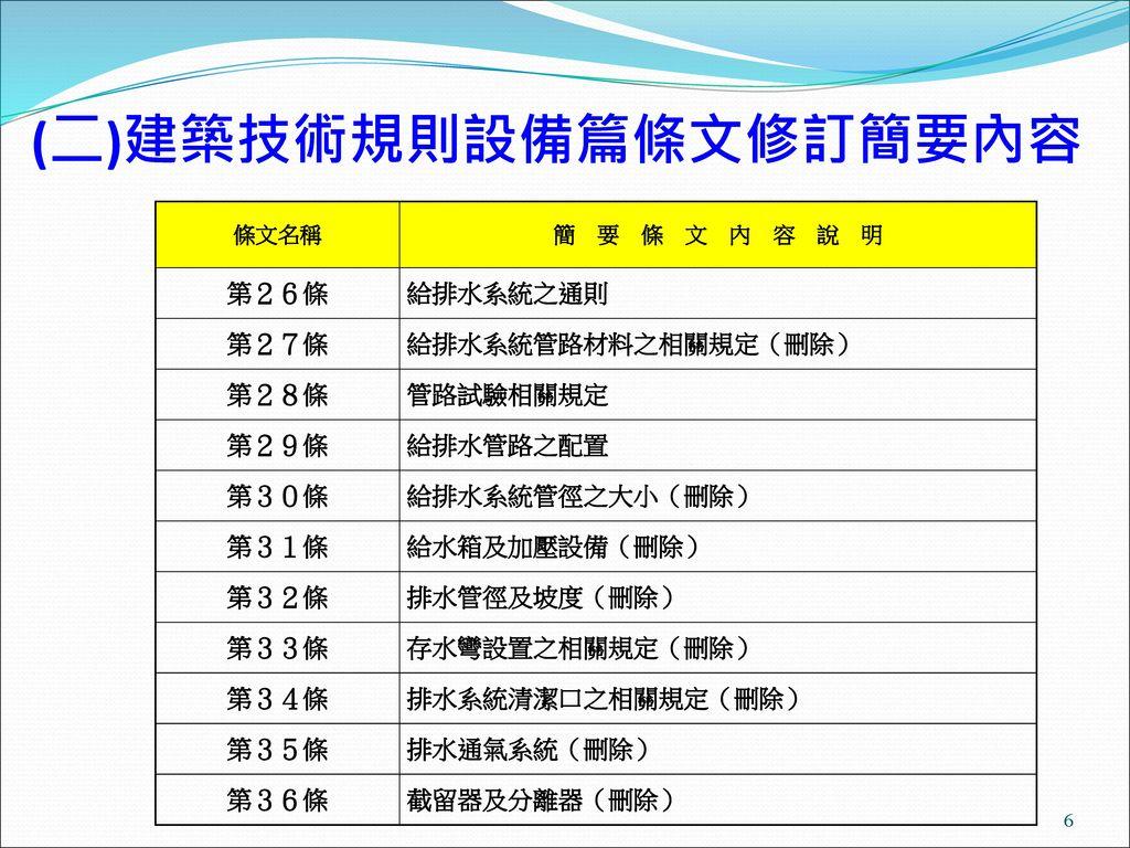 (二)建築技術規則設備篇條文修訂簡要內容