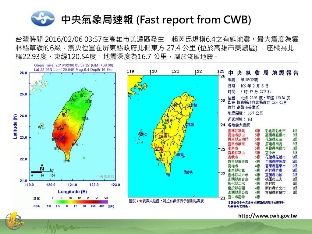 中央氣象局速報 (Fast report from CWB)