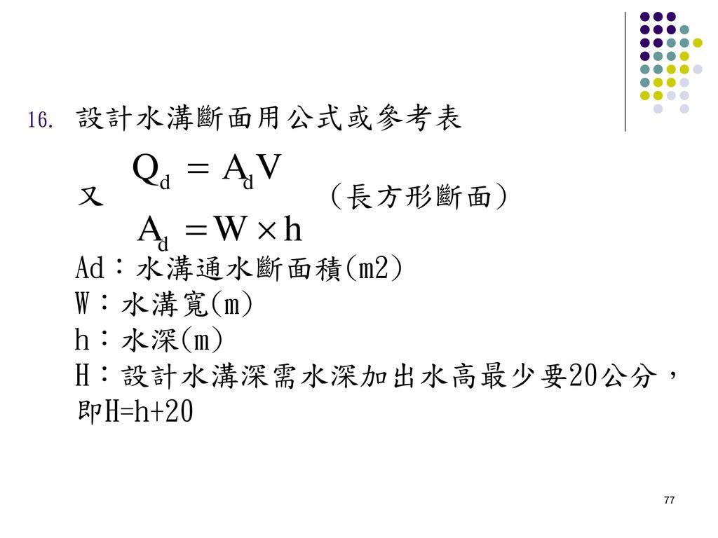 設計水溝斷面用公式或參考表 又 (長方形斷面) Ad:水溝通水斷面積(m2) W:水溝寬(m) h:水深(m) H:設計水溝深需水深加出水高最少要20公分,即H=h+20