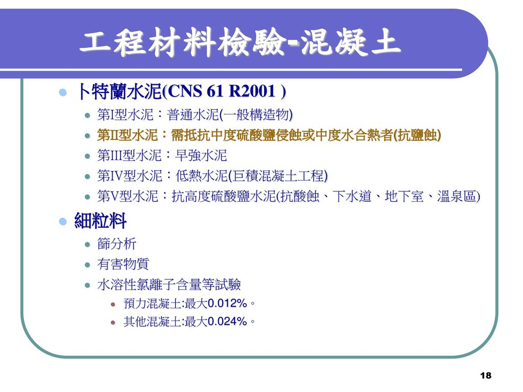 工程材料檢驗-混凝土 卜特蘭水泥(CNS 61 R2001 ) 細粒料 第I型水泥:普通水泥(一般構造物)