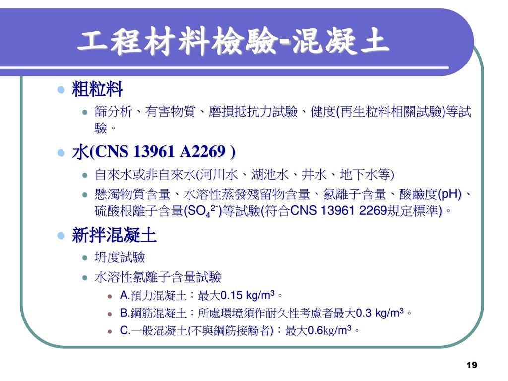 工程材料檢驗-混凝土 粗粒料 水(CNS 13961 A2269 ) 新拌混凝土