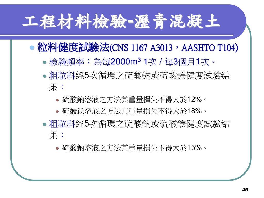 工程材料檢驗-瀝青混凝土 粒料健度試驗法(CNS 1167 A3013,AASHTO T104)