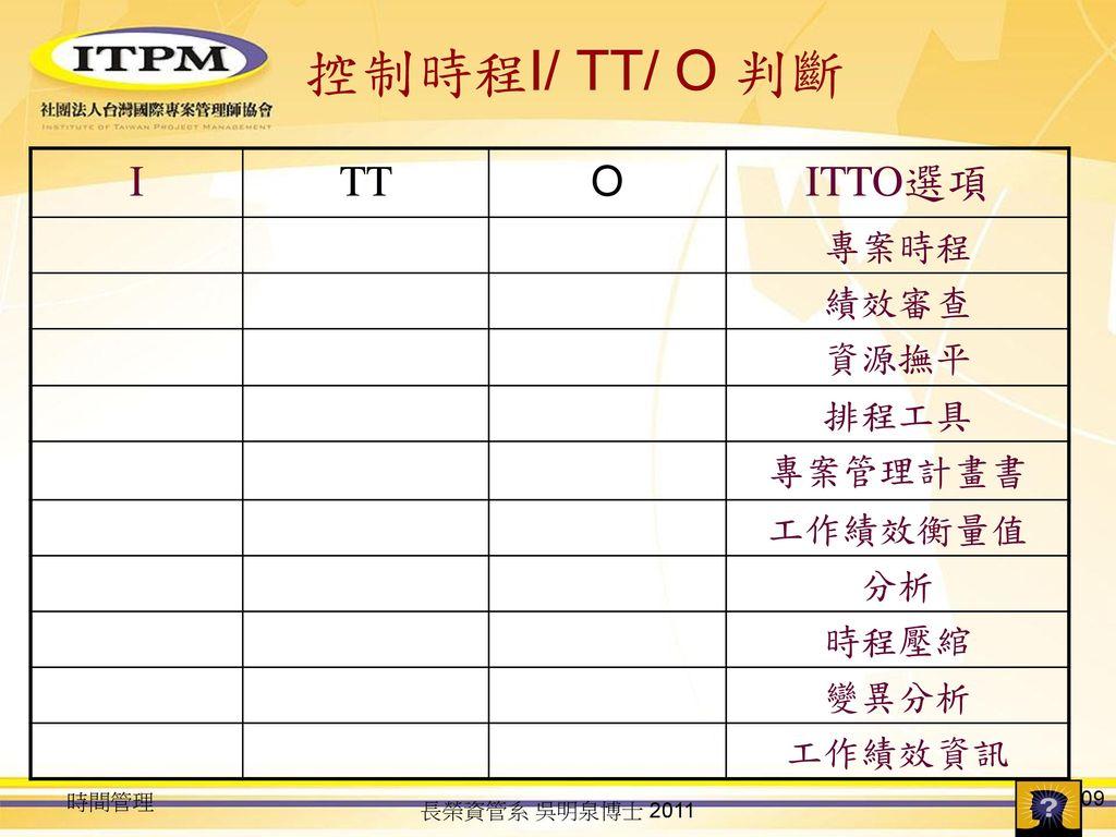 控制時程I/ TT/ O 判斷 I TT O ITTO選項 專案時程 績效審查 資源撫平 排程工具 專案管理計畫書 工作績效衡量值 分析