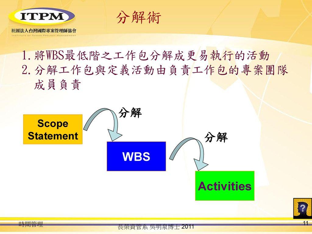 分解術 將WBS最低階之工作包分解成更易執行的活動 分解工作包與定義活動由負責工作包的專案團隊成員負責 分解 分解 WBS