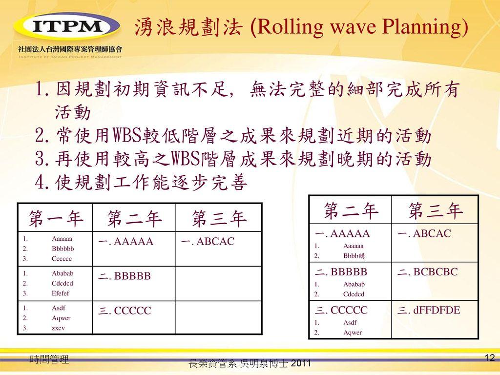 湧浪規劃法 (Rolling wave Planning)