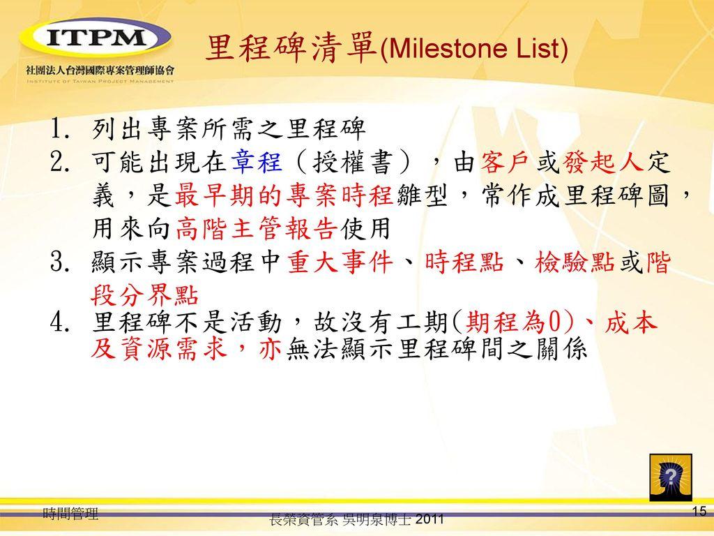 里程碑清單(Milestone List)