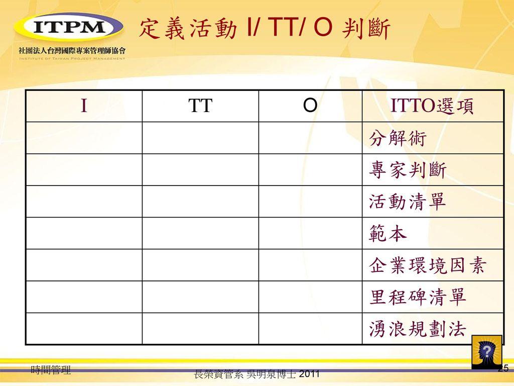 定義活動 I/ TT/ O 判斷 I TT O ITTO選項 分解術 專家判斷 活動清單 範本 企業環境因素 里程碑清單 湧浪規劃法