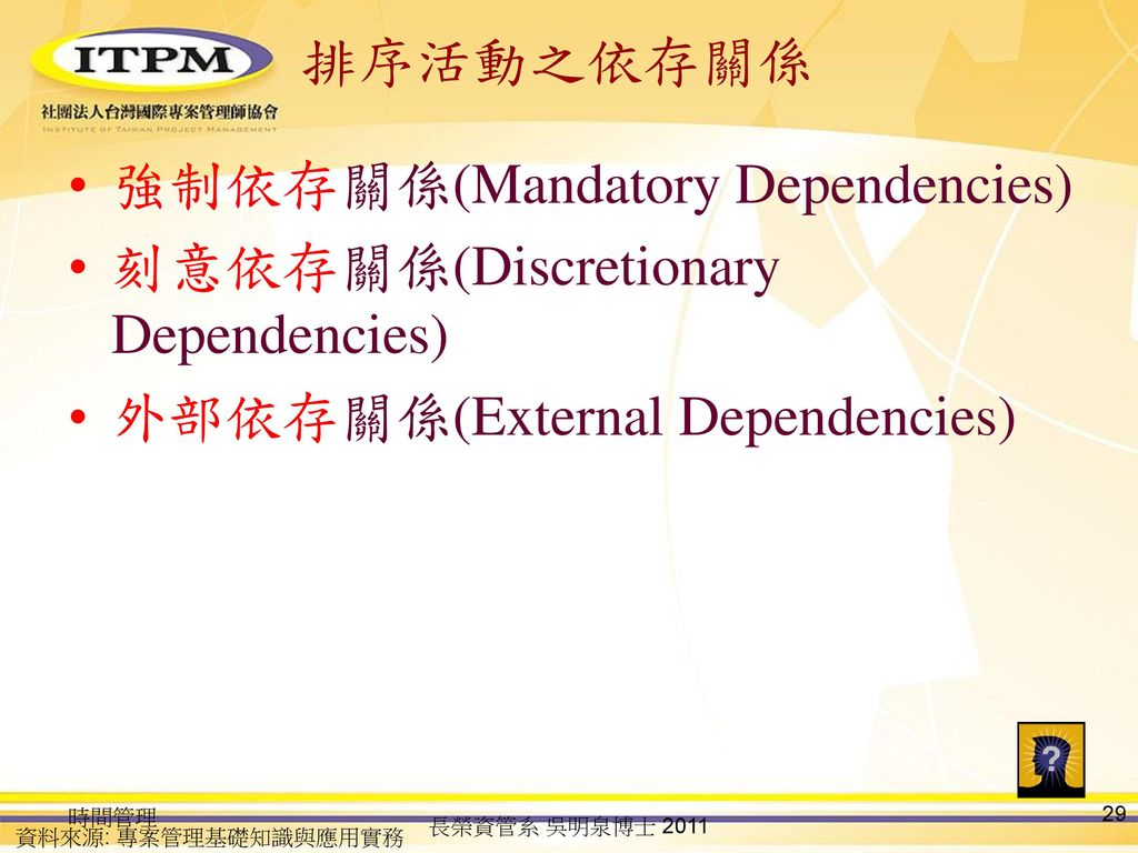 強制依存關係(Mandatory Dependencies) 刻意依存關係(Discretionary Dependencies)