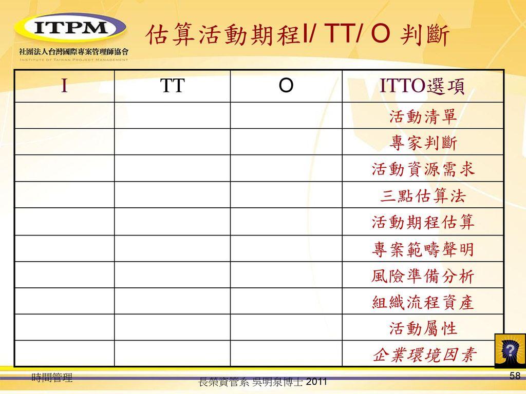 估算活動期程I/ TT/ O 判斷 I TT O ITTO選項 活動清單 專家判斷 活動資源需求 三點估算法 活動期程估算 專案範疇聲明