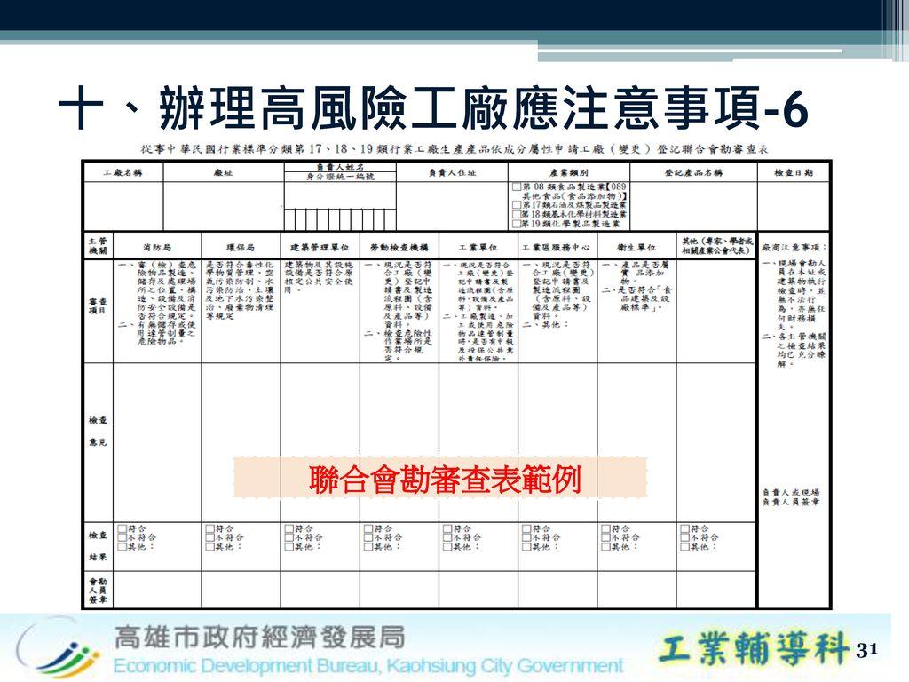 十、辦理高風險工廠應注意事項-6 聯合會勘審查表範例