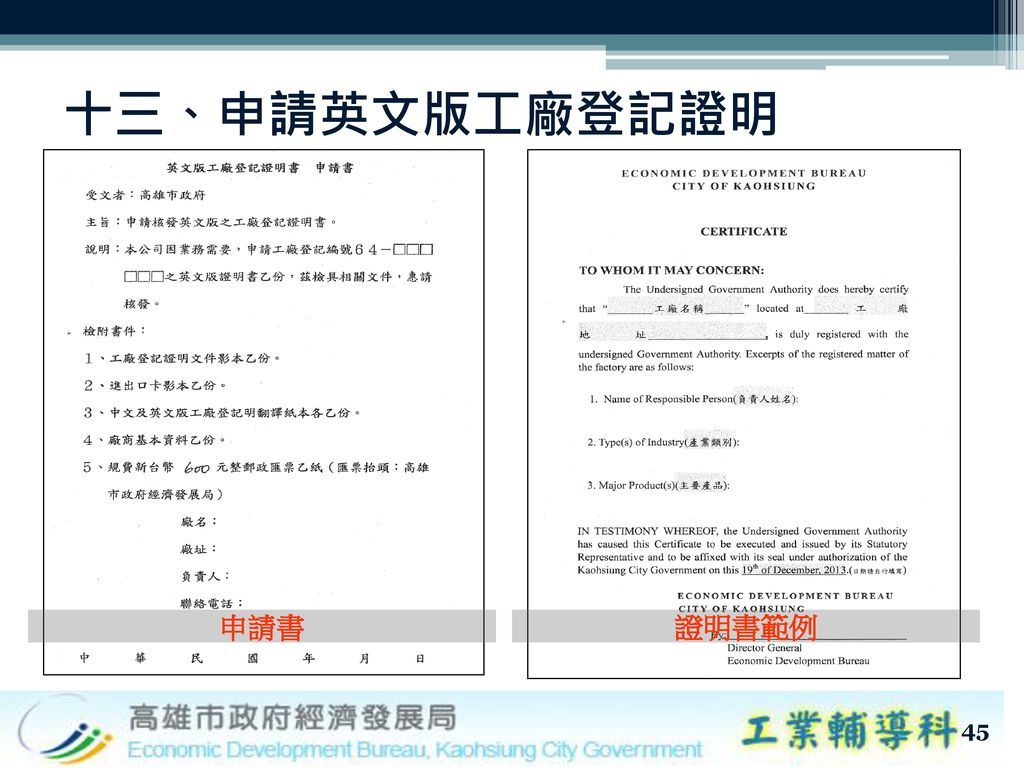 十三、申請英文版工廠登記證明 申請書 證明書範例