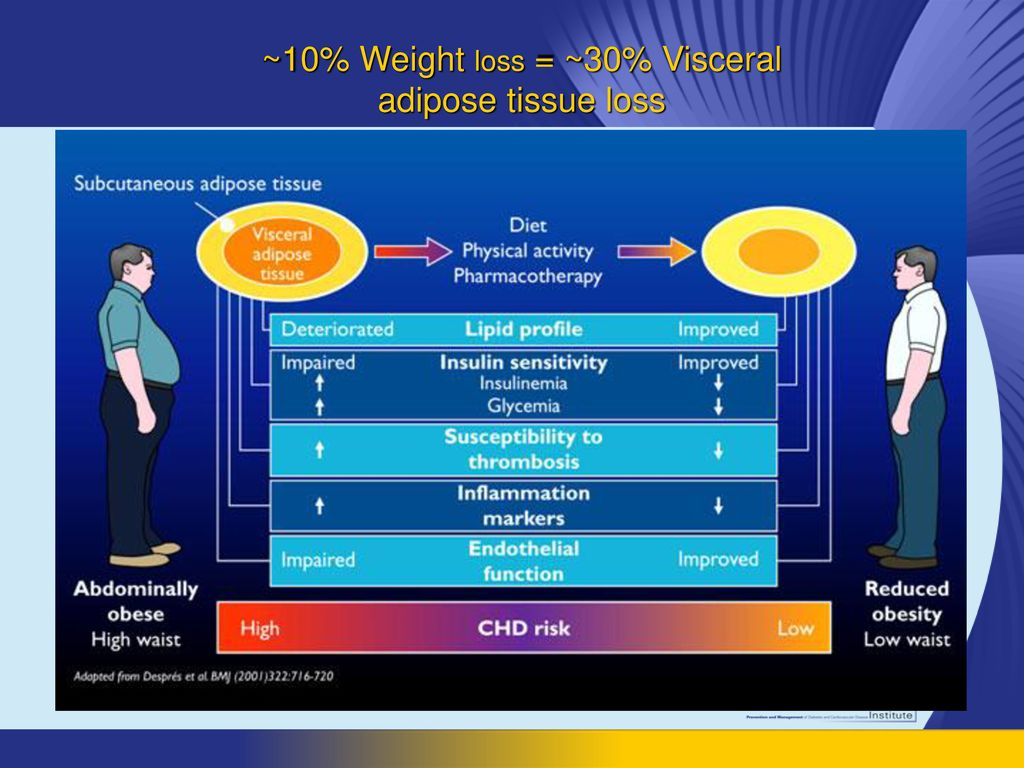 ~10% Weight loss = ~30% Visceral adipose tissue loss