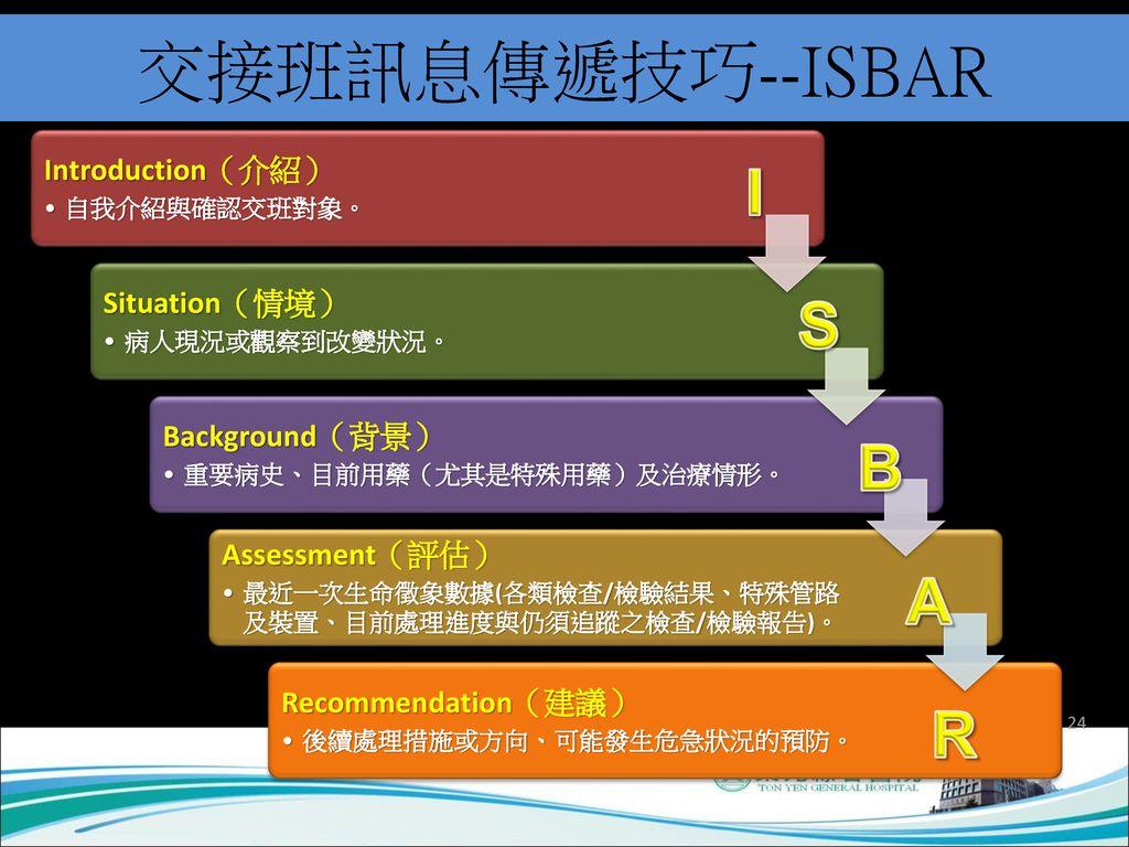 交接班訊息傳遞技巧--ISBAR I S B A R Assessment(評估) Recommendation(建議)