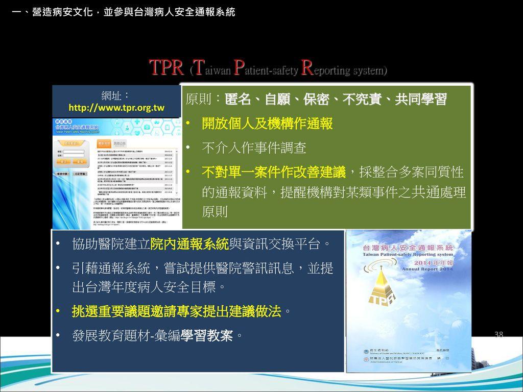 院外台灣病人安全通報系統 TPR (Taiwan Patient-safety Reporting system)